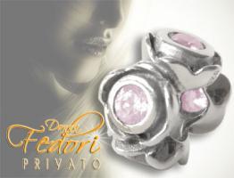 Privato Bead Rosa Blütentraum 925 Sterling Silber, Zirkonia