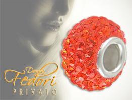 Privato Bead Tangerine Glamour 925 Sterling Silber, Swarovski Kristalle