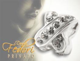 Privato Bead White Glamour X Loop 925 Sterling Silber, Swarovski Kristalle