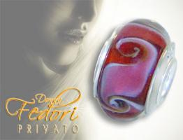 Privato Glasbead Red Candice 925 Sterling Silber