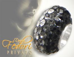 Privato Glitzerbead Black'n White Glamour 925 Sterling Silber, Swarovski Kristalle