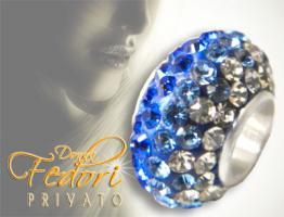 Privato Glitzerbead Blue Mixed Glamour 925 Sterling Silber, Swarovski Kristalle