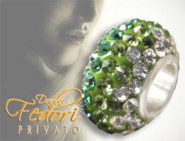 Privato Glitzerbead Green Mixed Glamour 925 Sterling Silber, Swarovski Kristalle