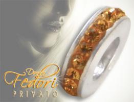 Privato Spacer Bead Mono Amber Glamour 925 Sterling Silber, Swarovski Kristalle