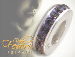 Privato Spacer Bead Mono Lila Glamour 925 Sterling Silber, Swarovski Kristalle