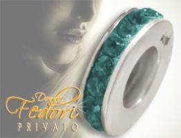 Privato Spacer Bead Mono Petrol Glamour 925 Sterling Silber, Swarovski Kristalle