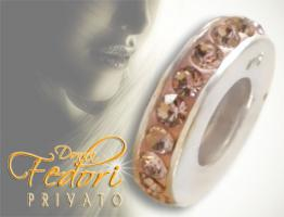 Privato Spacer Bead Mono Rosa Glamour 925 Sterling Silber, Swarovski Kristalle