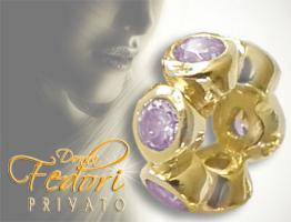 Privato Spacer Rosy Brightness 925 Sterling Silber 18k vergoldet, Zirkonia