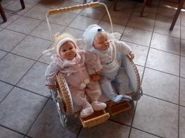 Puppenwagen mit Zwillingspuppen
