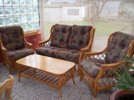 RATTANMÖBEL Zweier Couch, 2 Sessel, 1 Tisch