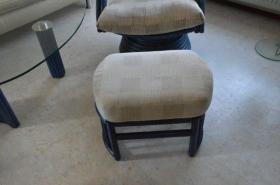 Foto 4 Rattan Hocker gepolstert passend zu Dreh-Wipp Relaxsessel