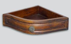 Foto 4 Regal, Eckwandkonsole mit Schublade aus Holz