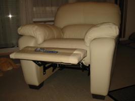 Relax Sessel echt Italienisches Kalbsleder cremfarben