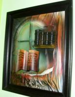 Relievbild (Airbrush auf Leder und Holz)