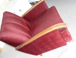 Retro / Vintage Sessel, Original, roter Samt, sehr gut erhalten!