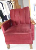 Foto 2 Retro / Vintage Sessel, Original, roter Samt, sehr gut erhalten!