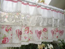 rosen patchwork gardine landhausgardine shabby chic in frankfurt am main. Black Bedroom Furniture Sets. Home Design Ideas