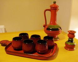 Rot Keramik Gl�ser / Tassen mit Tablett f�r 6 Personnen
