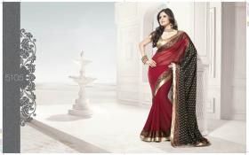 Rot und schwarz Georgette Saree (Sari) mit Blusenstoff