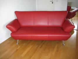 Rotes Echt-Leder Sofa für NUR 190 Euro VB