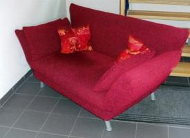 Foto 2 Rotes Polster - Sofa / weinrote Couch / Designer - Sofa