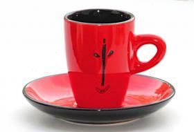 Rotschwarze kleine Kaffeetasse ''NANA'', gebraucht