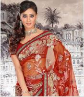 Rubigenious Rust Net Sari (Saree)