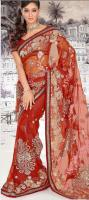 Foto 3 Rubigenious Rust Net Sari (Saree)