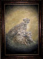 Ruhende Geparden - Wunderschönes Original Ölgemälde 60X90 cm FREE SHIPPING