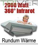 Foto 2 Rundum 360º Infrarot Heizstrahler für Terrasse, Wintergarten.