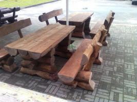 Foto 2 Rustikale Massivholztisch ''Strand Pluss'' zwei Bänke mit Lehne