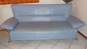 Foto 2 SCHNÄPPCHEN! Sofagarnitur 3tlg. Kunstleder, hellblau
