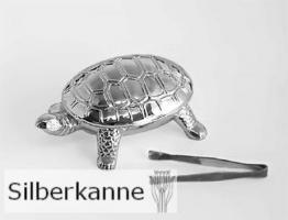 Saccharindose Schildkröte L 7 cm, versilbert / SILBER plated