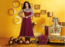 Salwar Burgund Georgette Churidar Kameez mit Dupatta