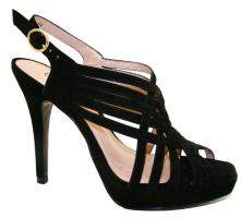 Foto 2 Sandalen High Heels aus echtem Rinds- und Wildleder, schwarz, taupe, weiß, coral