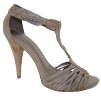 Foto 4 Sandalen High Heels aus echtem Rinds- und Wildleder, schwarz, taupe, weiß, coral