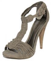 Foto 5 Sandalen High Heels aus echtem Rinds- und Wildleder, schwarz, taupe, weiß, coral