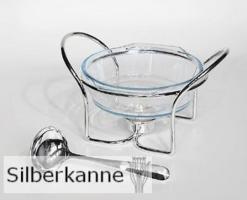 Sauciere Therma mit Löffel, versilbert / SILBER plated