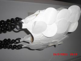 Foto 2 Schicke Handtasche fransig weiss mit holz perlen henkeln