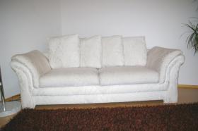 Foto 4 Schlafsofa und Sessel, weiß aus Stoff - in sehr gutem Zustand