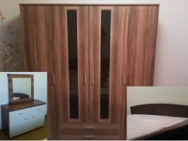 Schlafzimmer Möbel - Kleider Schrank, Rattan Bett, Kommode