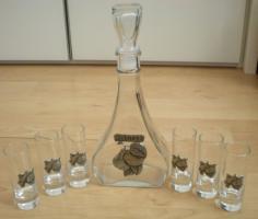 Schnapskaraffe  aus Glas mit 6 schmalen Stamperl