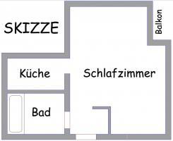 Sch�ne 1-Zimmer-Wohnung, 35 m�,  300, - EUR Kaltmiete, provisionsfrei