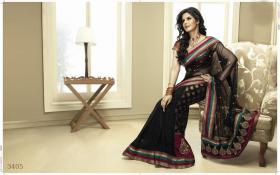 Schöne Bollywood schwarze Designer Sari (Saree)