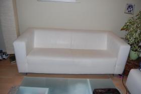 Schöne Couch, 3er Sofa, weiß Lederimitat, Federkern