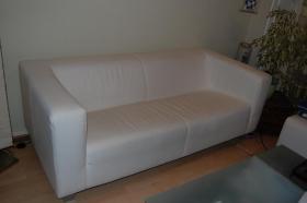 Foto 2 Schöne Couch, 3er Sofa, weiß Lederimitat, Federkern