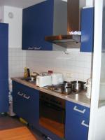 Schöne EBK blau mit Kühlschrank nwtg., Ofen, Herd, Dunstabzug Spüle 270 lang