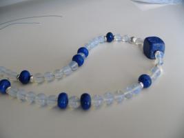 Schöne Opalit Edelsteinkette mit viel 925er Silber Perlen und Lapiz Lazuli NEU !!