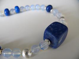 Foto 2 Schöne Opalit Edelsteinkette mit viel 925er Silber Perlen und Lapiz Lazuli NEU !!