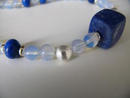 Foto 3 Schöne Opalit Edelsteinkette mit viel 925er Silber Perlen und Lapiz Lazuli NEU !!